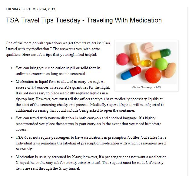 Flying with medication