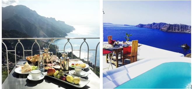 Anthony and Alexa's view during breakfast in the Amalfi Coast and Santorini