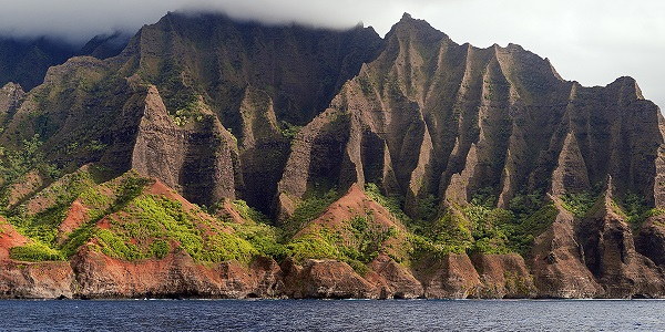 The Na'Pali Coast, showing the eroded cliffs.