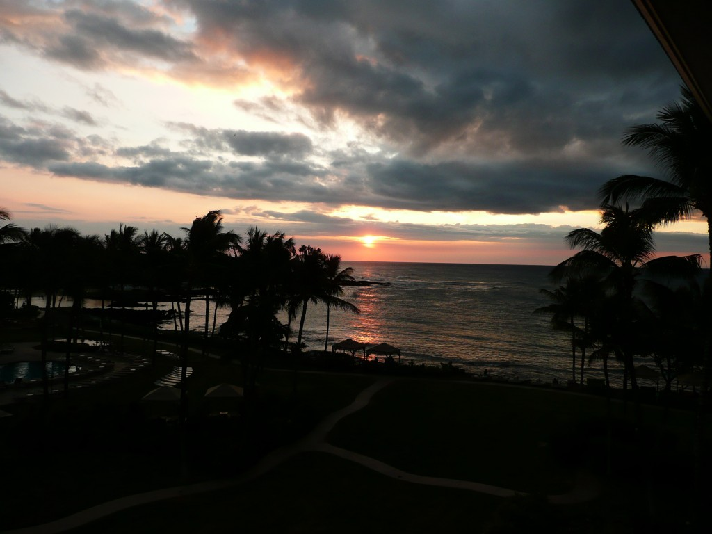 Sunset view from our room at the Fairmont Orchid